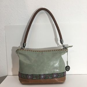 The Sak green and brown leather beaded purse